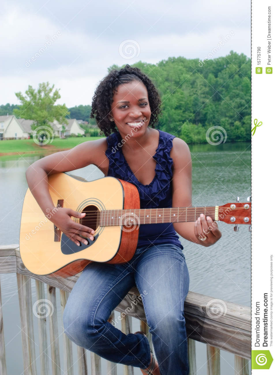 Wallpaper Of Cute Girl With Guitar Black Woman With Guitar Stock Photo Image Of Human Girl