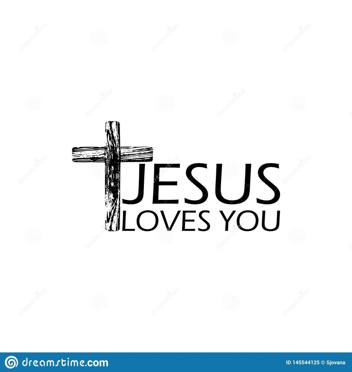 Download Black Wooden Cross Icon With Text Jesus Loves You Stock ...