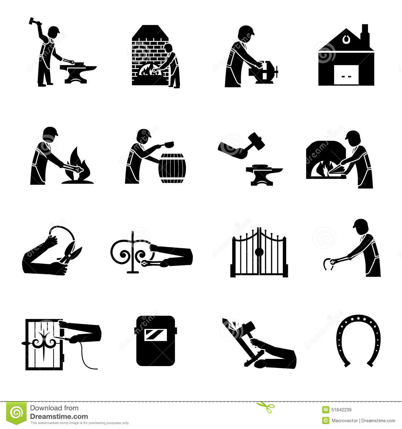 Blacksmith Icons Black Cartoon Vector