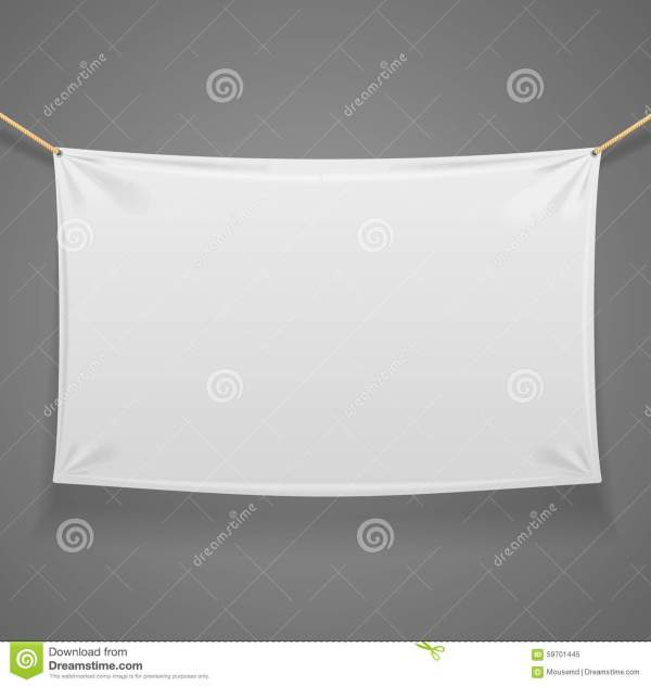 Blanc Fabric Rectangular Banner With Ropes. Vector Stock