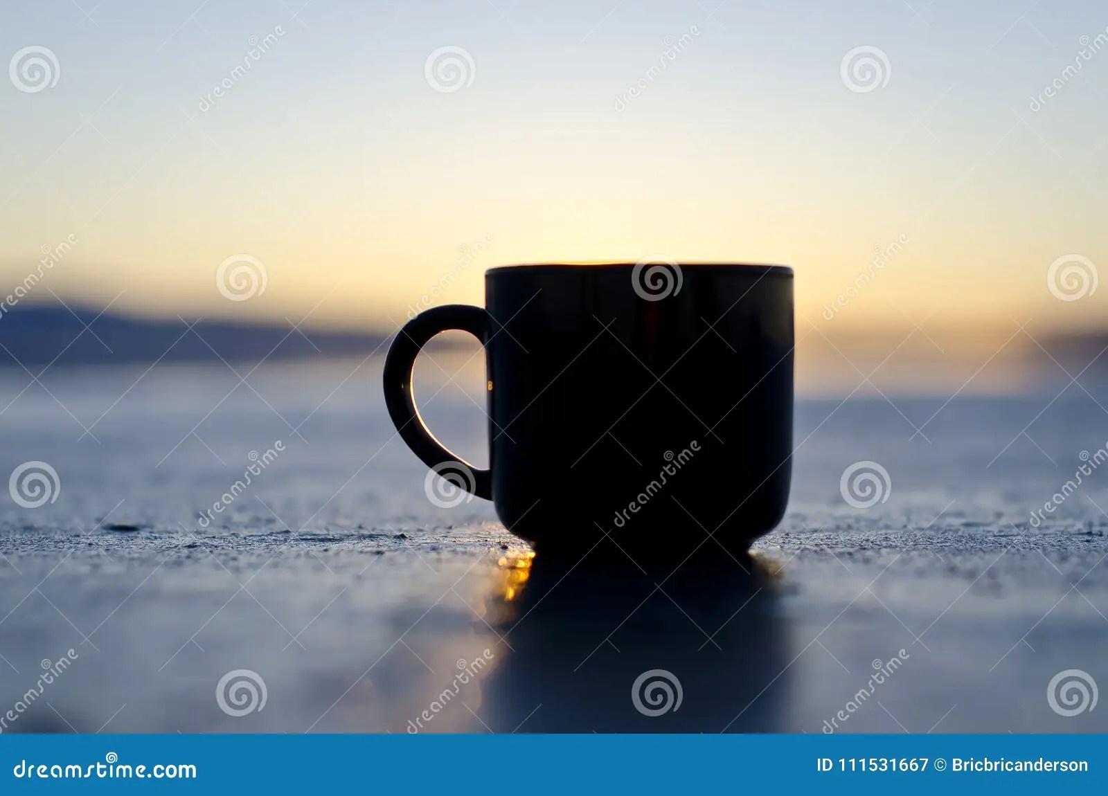 Blank Black Coffee Mug On The Great Salt Lake Shore Stock