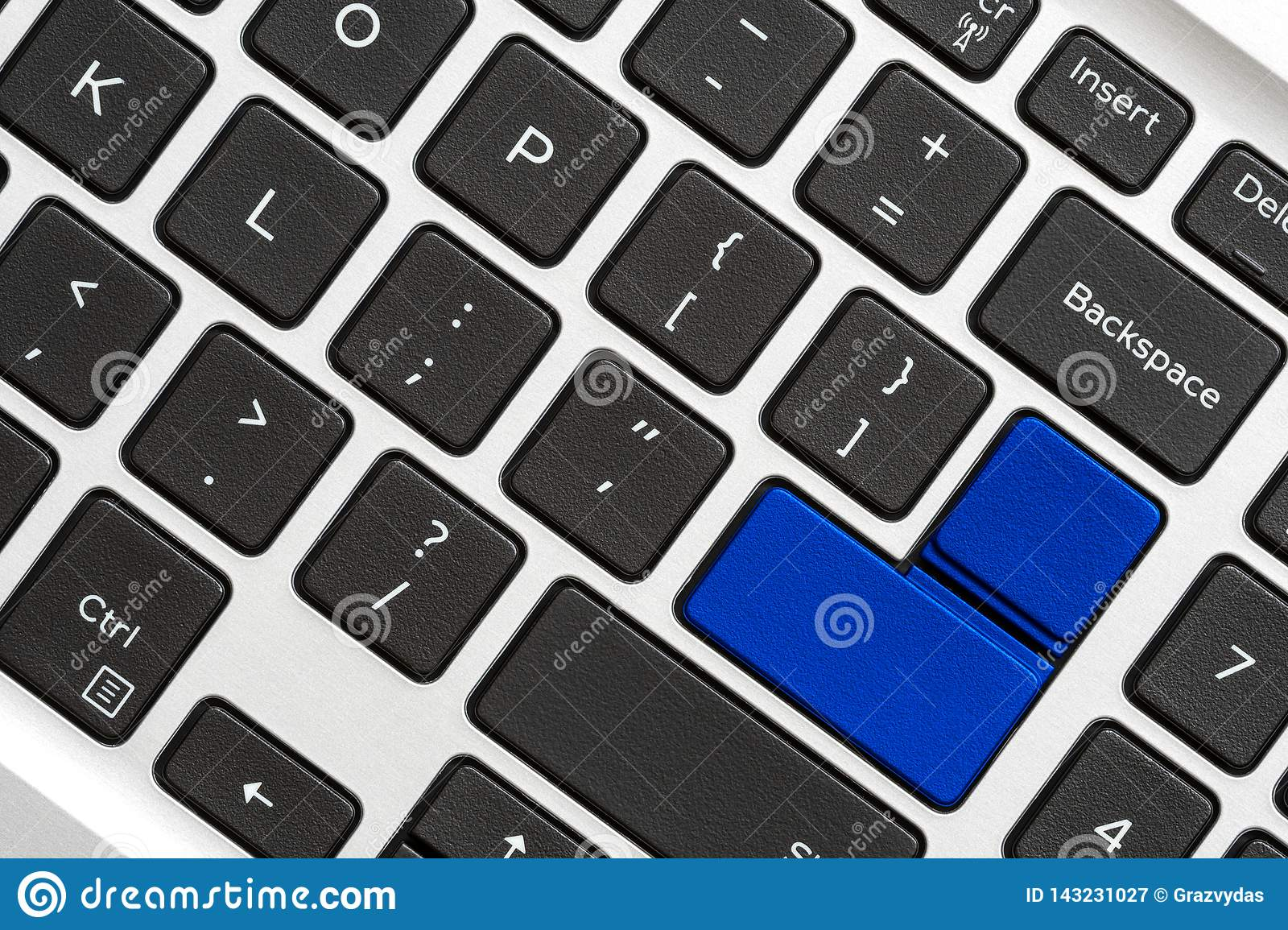 Blank Blue Button On The Keyboard Stock Image