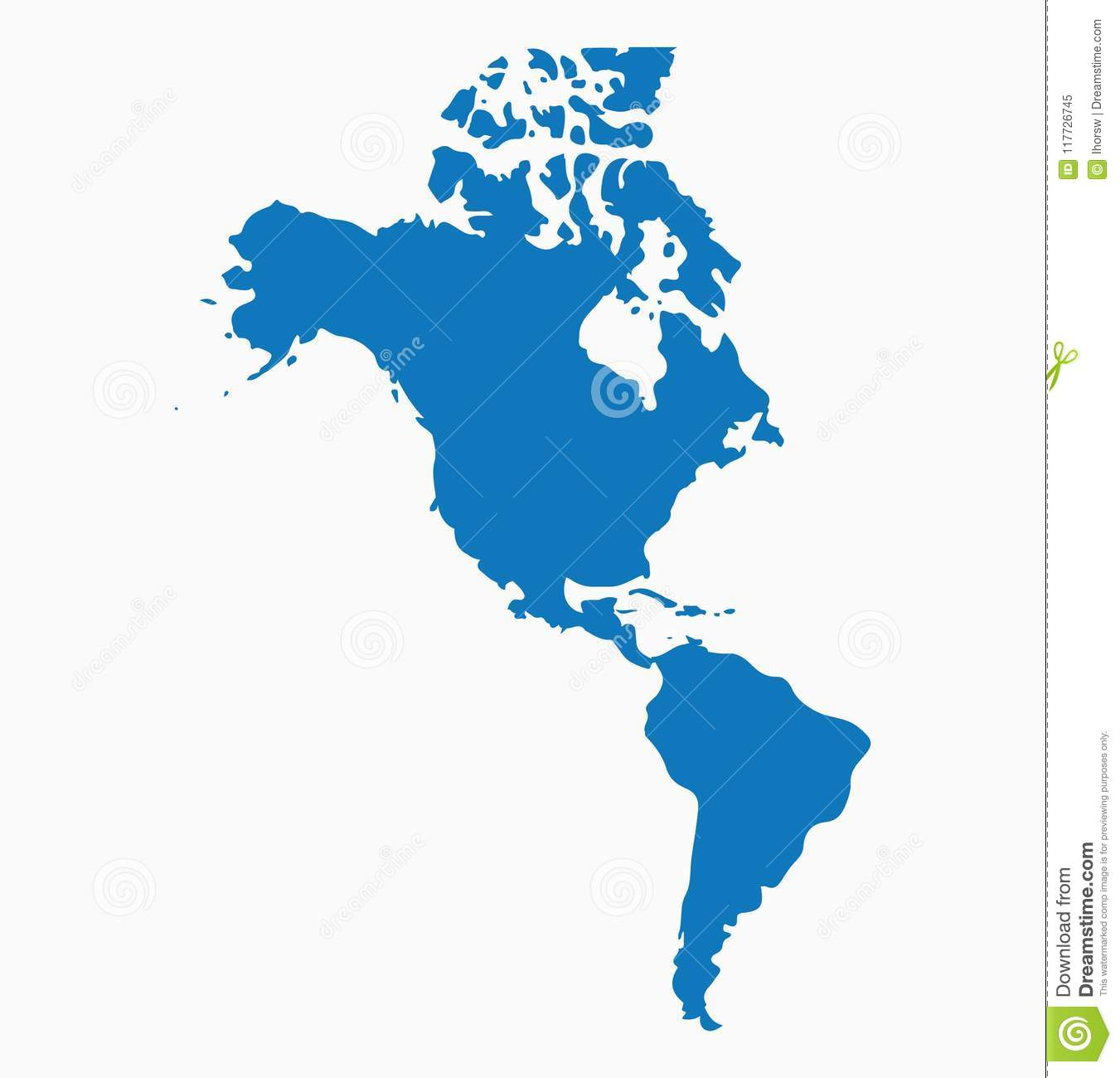 Blank Blue Similar North And South America Map Isolated On
