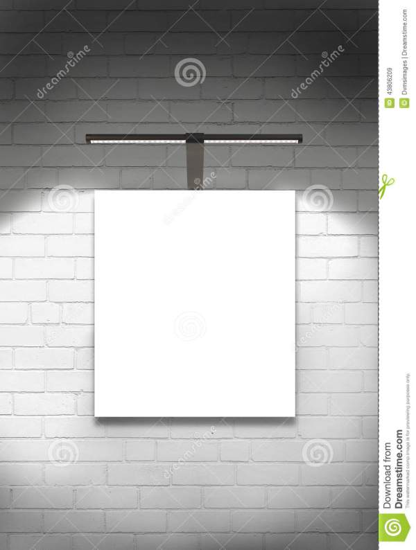 Blank Canvas Wall And Light Stock