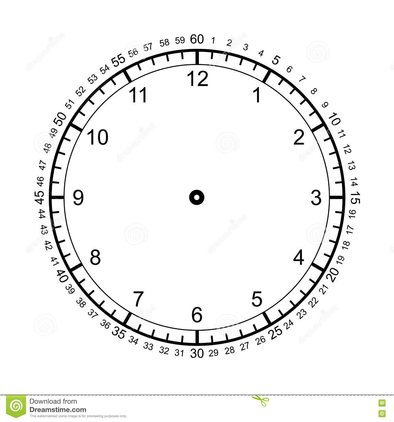Blank Clock Isolated On White Vector Stock Vector