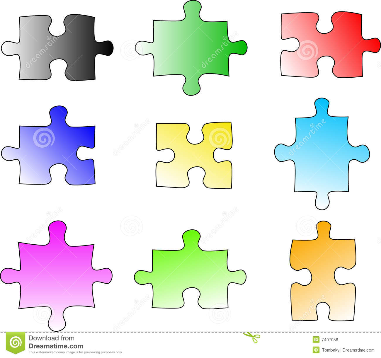 Blank Color Puzzle Pieces Royalty Free Stock Image