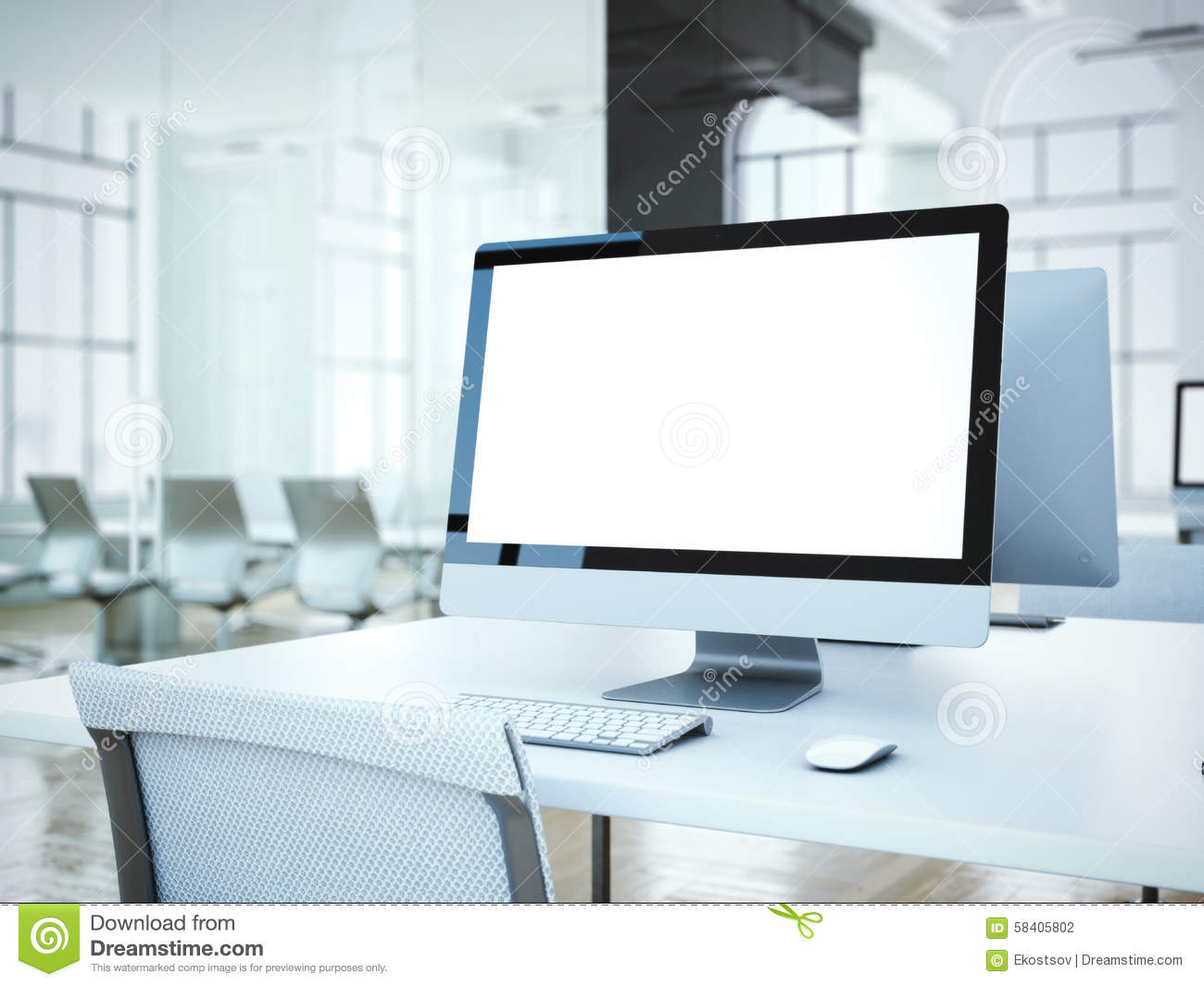 Blank Computer Screen With White Chair 3d Rendering Stock