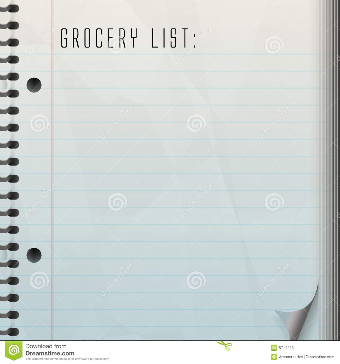 blank grocery list printable