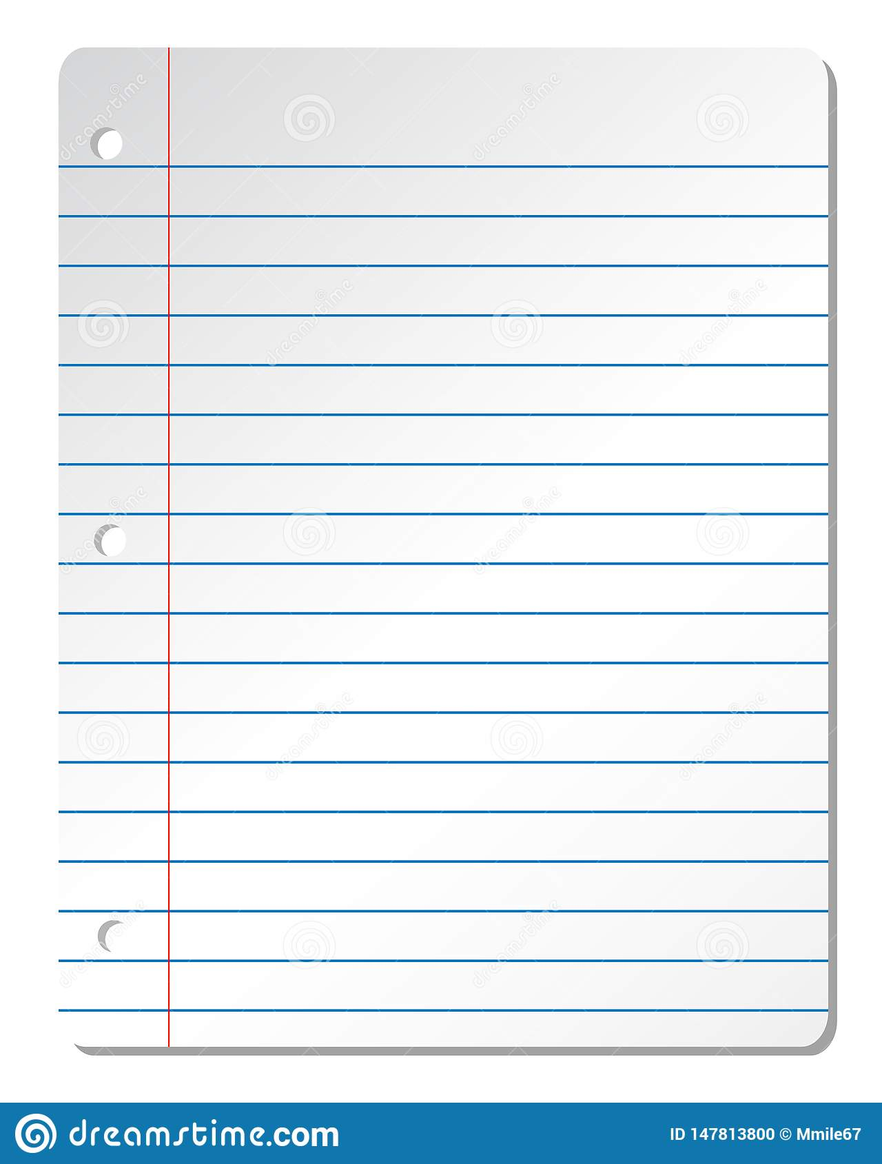 Blank Lined White Paper Sheet From Notebook With Blue