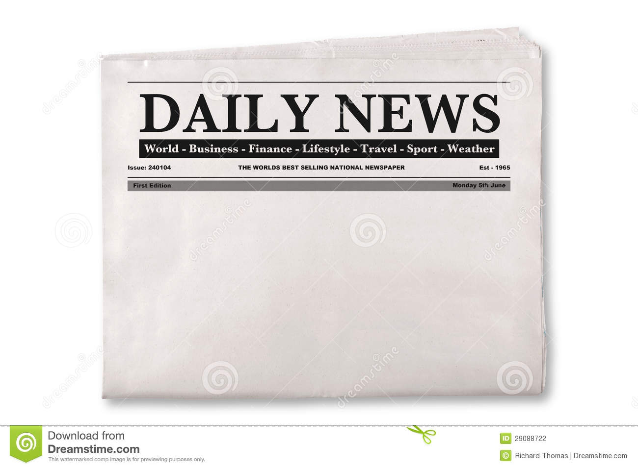 Blank Daily Newspaper Stock Photo Image Of Reporter