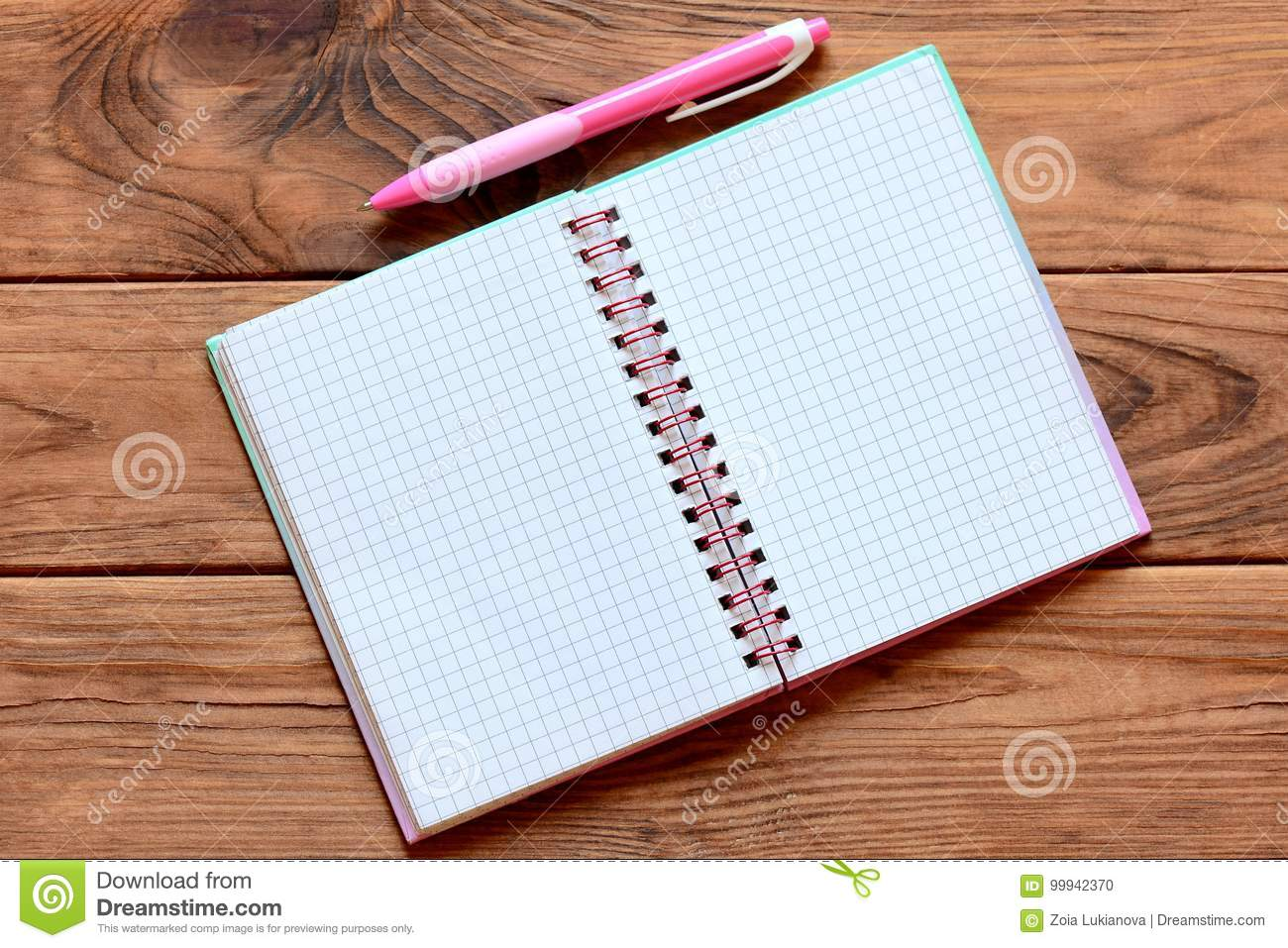 Blank Open Paper Notebook For Writing Notes Pen On Wooden