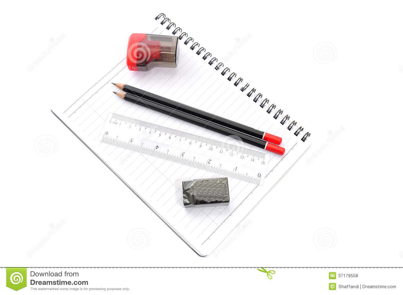 Blank Page With Pencils, Eraser, Ruler And Sharpener