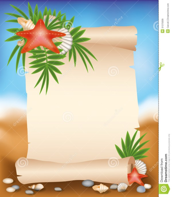 Blank Paper Scroll Summer Background With Starf Stock