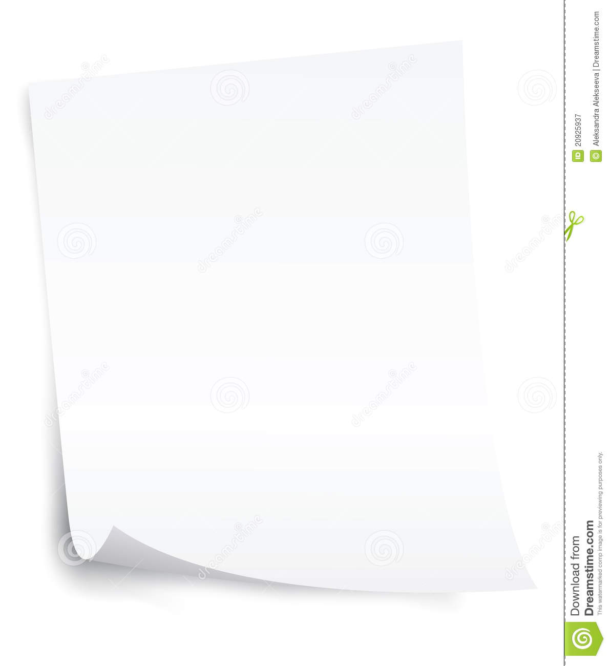 Blank Paper Sheet With Curl Corner Royalty Free Stock