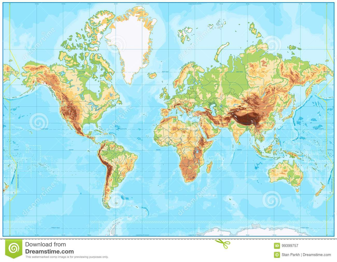 Blank Physical World Map And Bathymetry Stock Vector