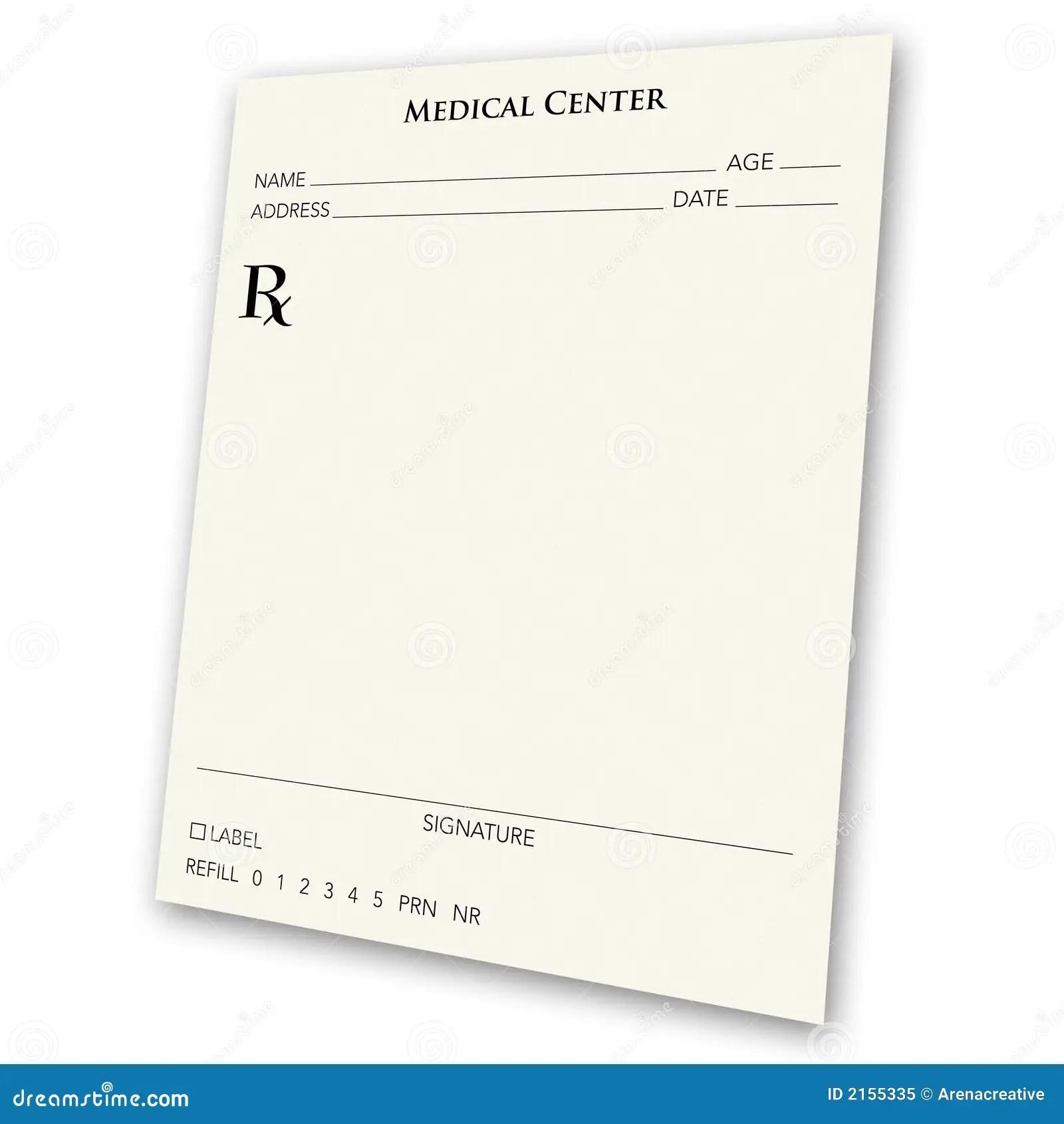Blank prescription pad stock illustration. Image of health