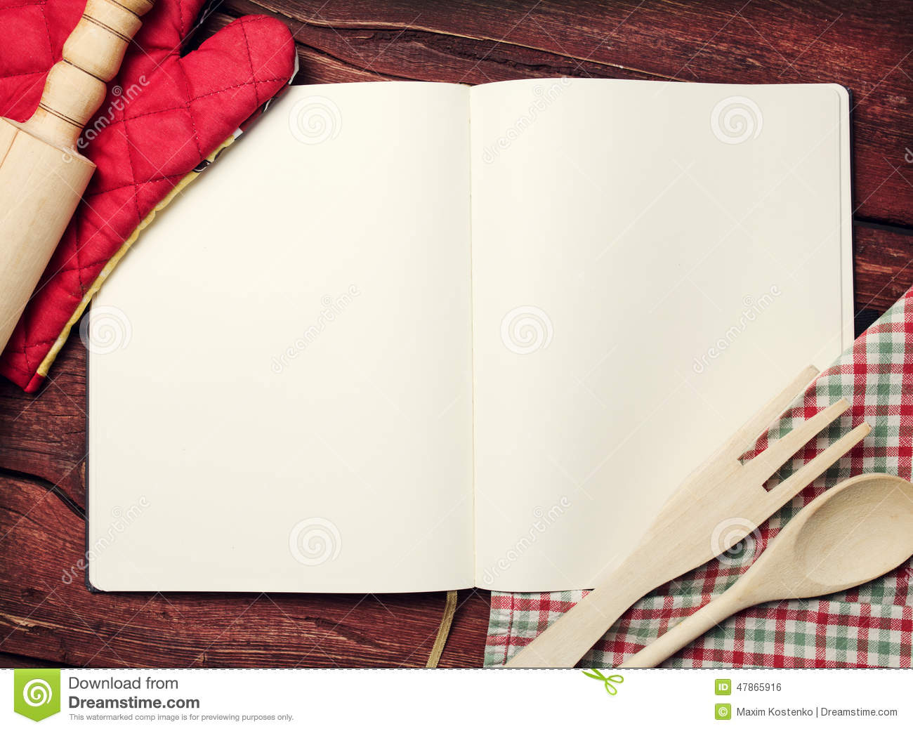 Blank recipe book on table stock photo Image of dough