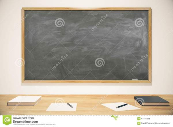 Blank School Blackboard With Books Exercise And