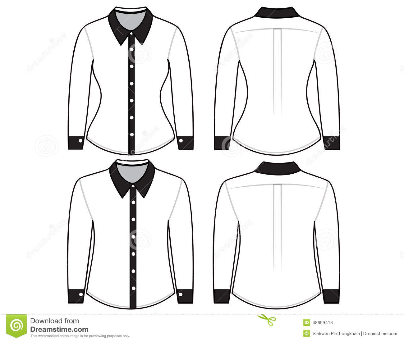 Blank Shirt With Long Sleeves Template Stock Illustration