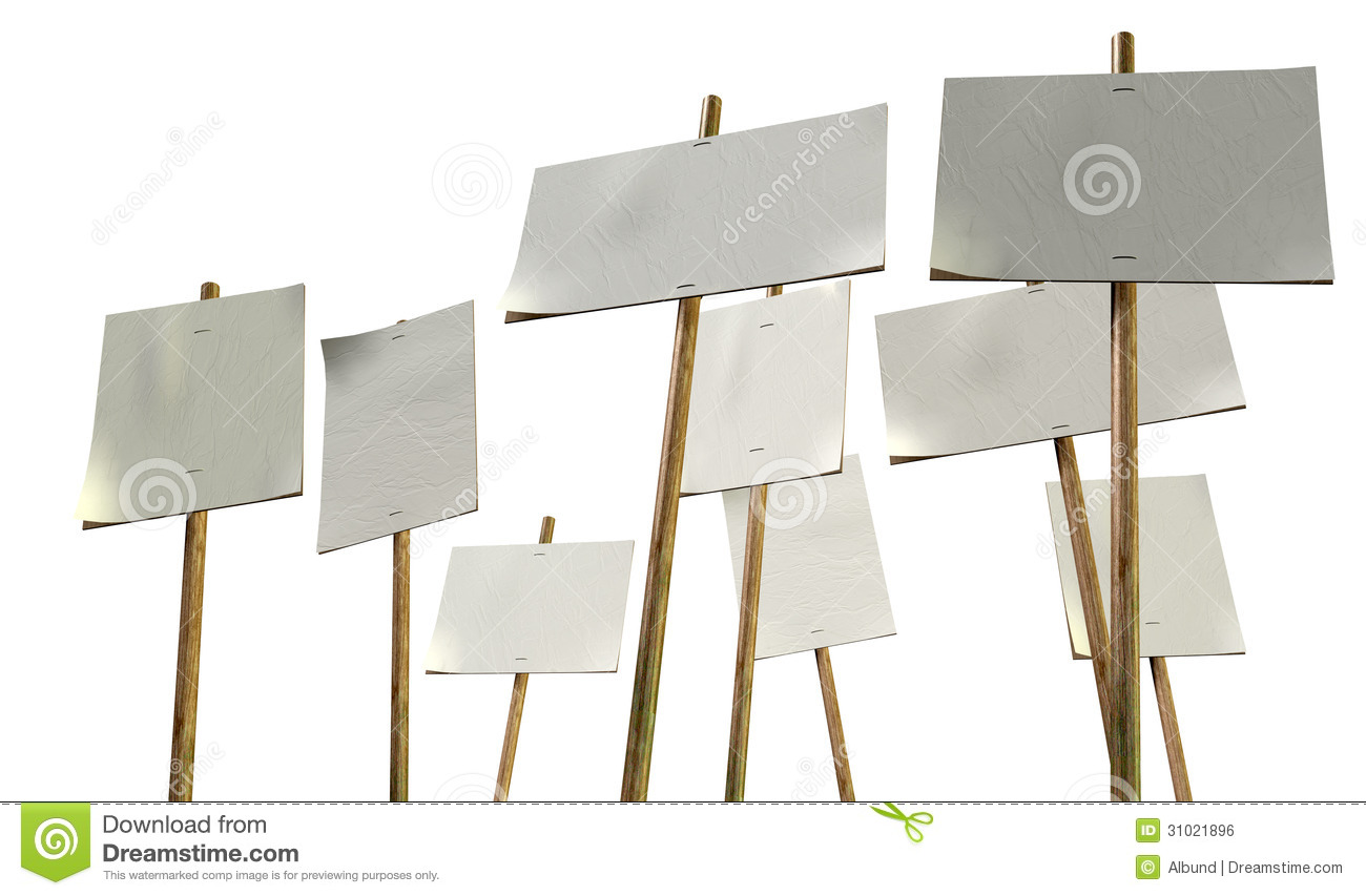 Blank Strikers Picket Plackards Royalty Free Stock Image