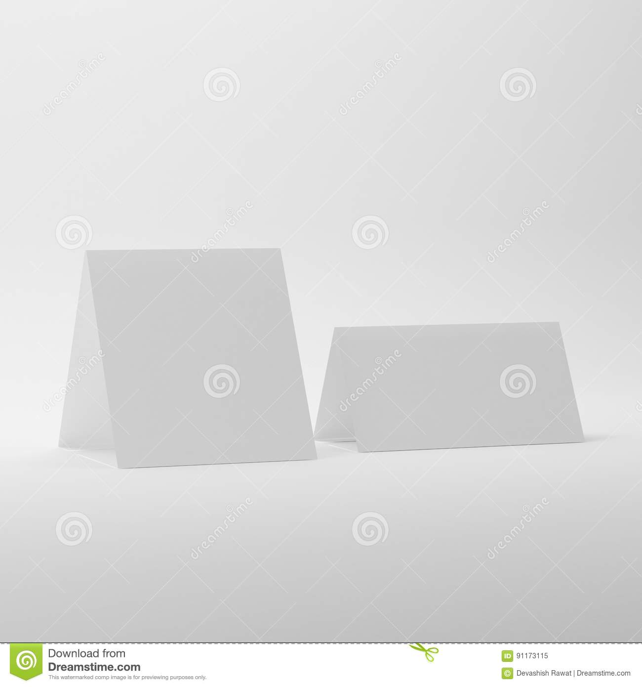 hight resolution of blank table tent mock ups on white background