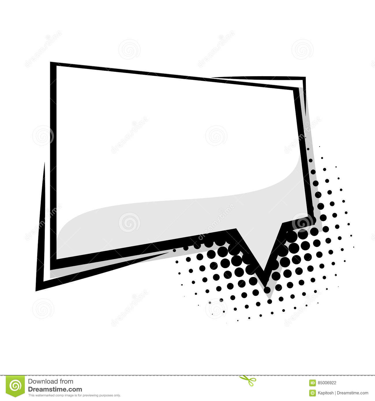 Blank Template Comic Speech Square Balloon Stock Vector