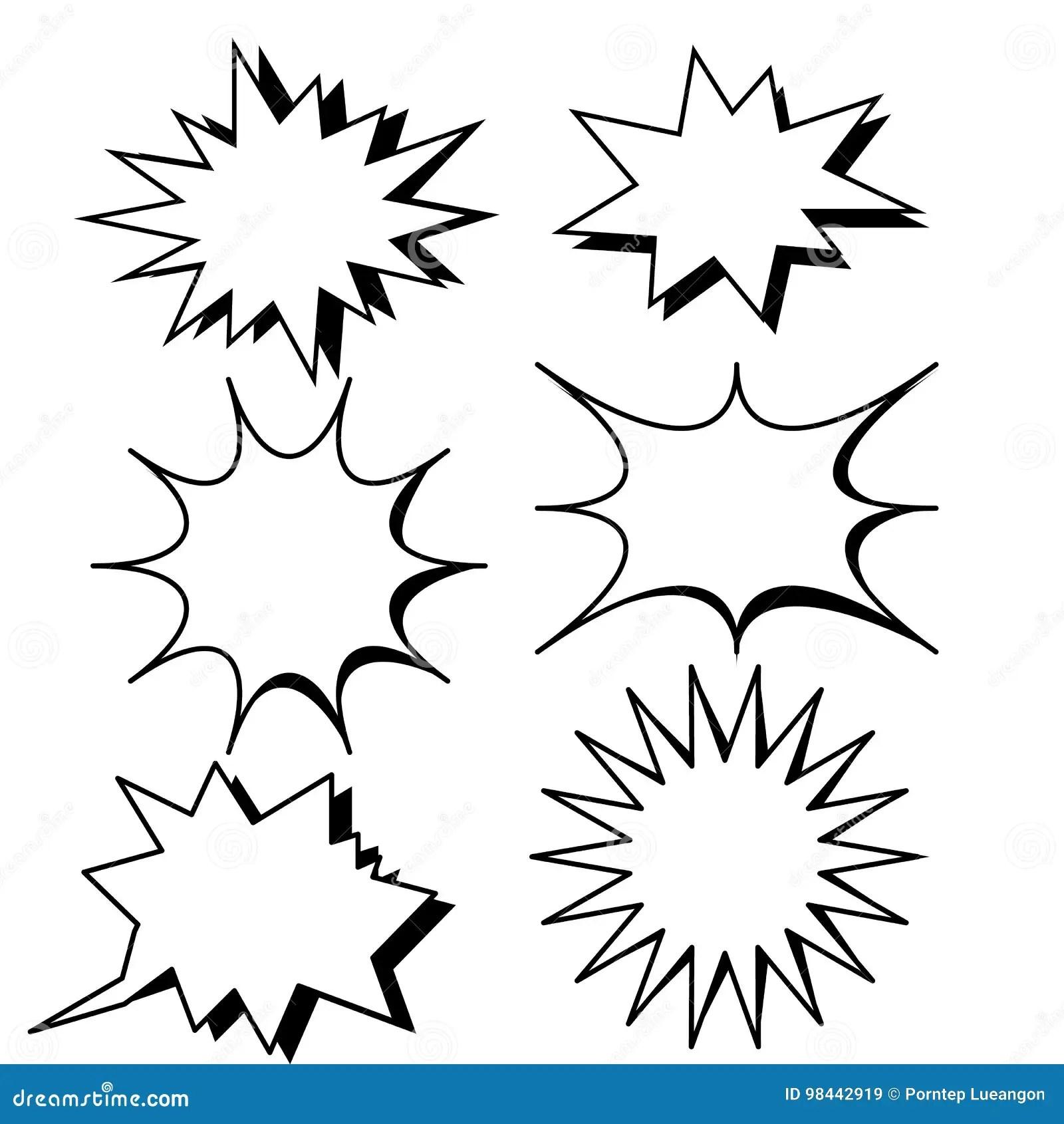 Blank Template Comic Text Speech Bubble Star Set Stock