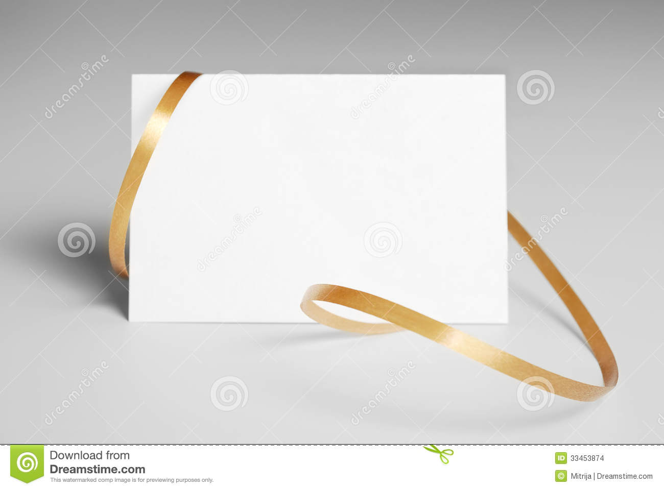 Blank Thank You Card With Golden Ribbon Stock Photo - Image of ...