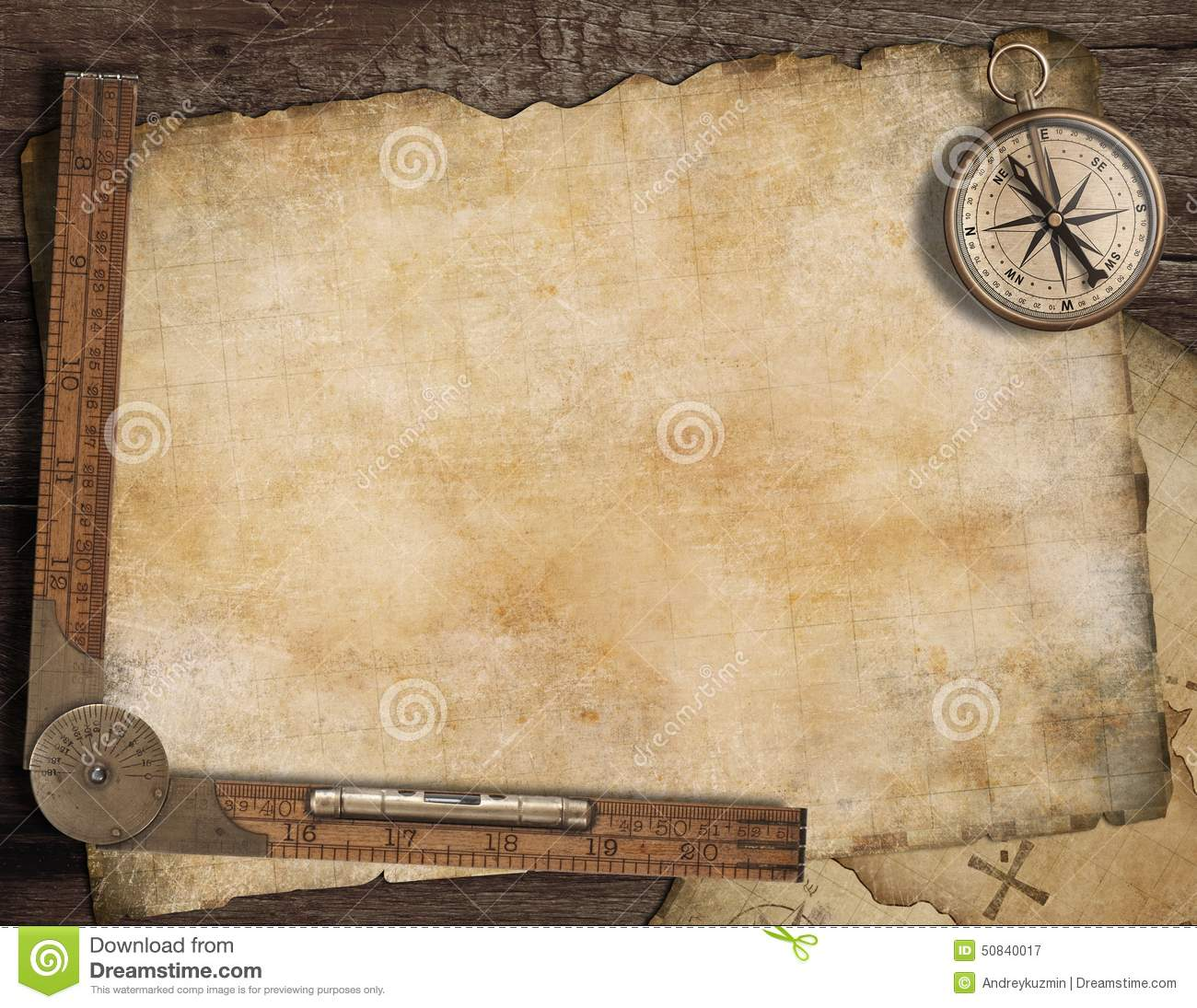 Blank Treasure Map Background With Old Compass Stock