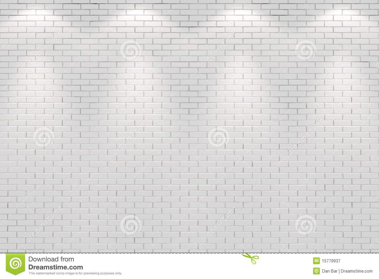 Blank White Brick Wall Lit By Four Spot Lights Royalty
