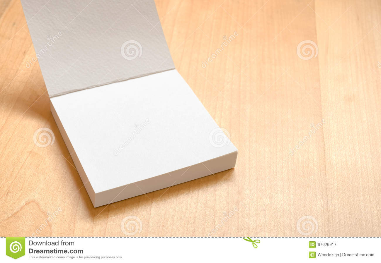 Download Blank White Notepad On Wooden Table,template Mock Up For Adding  Stock Image -