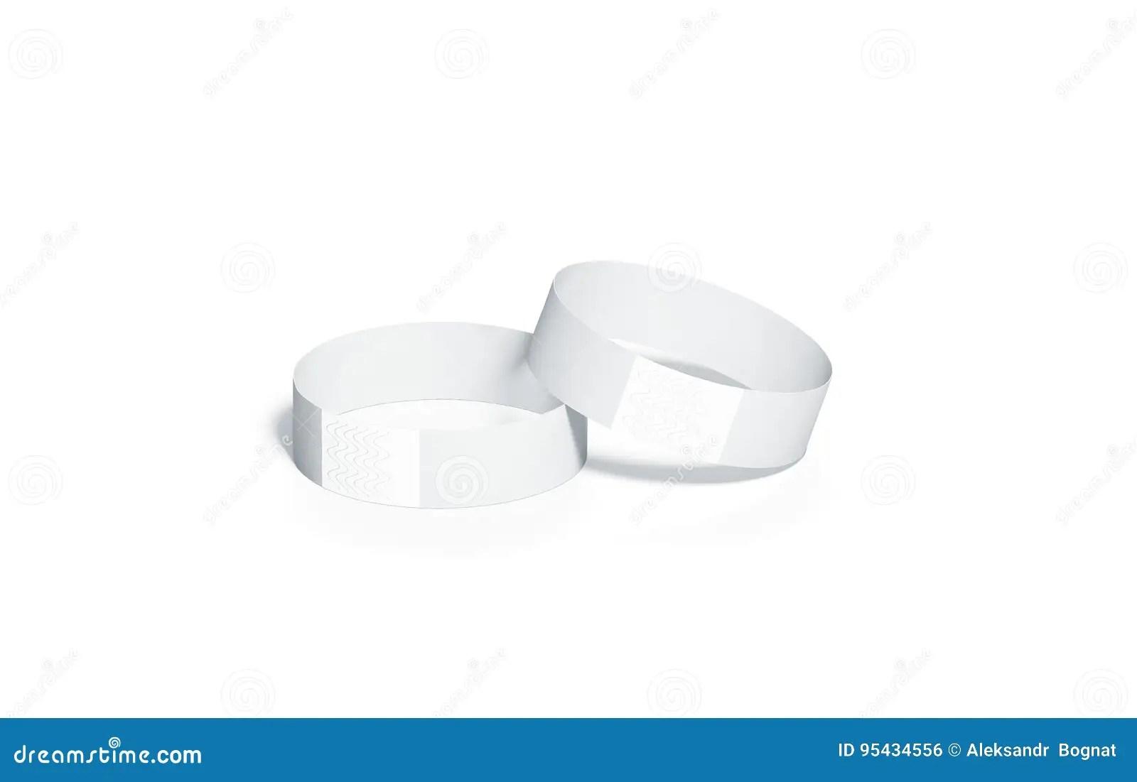 Blank White Paper Wristbands Mockups, Stock Illustration