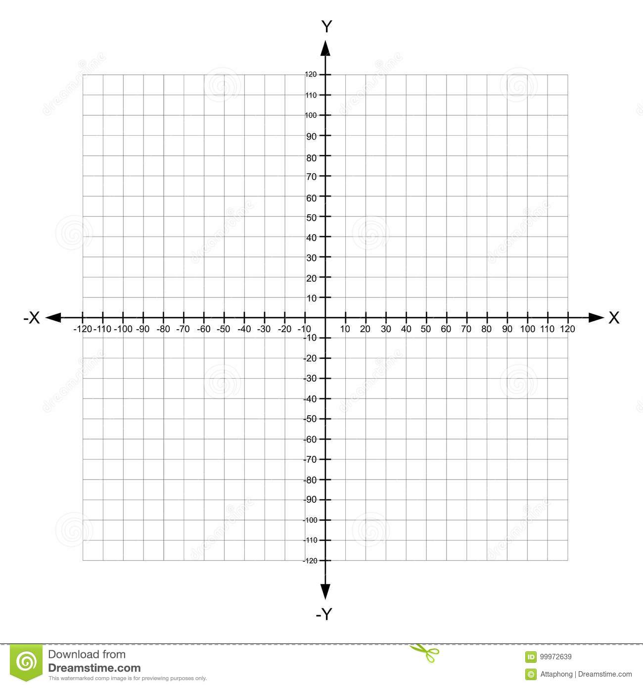 Blank X And Y Axis Cartesian Coordinate Plane With Numbers Stock Vector