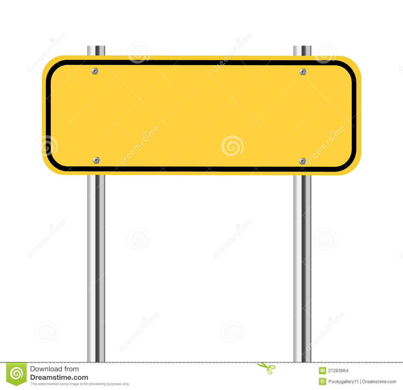 Blank Yellow Traffic Sign Stock Images