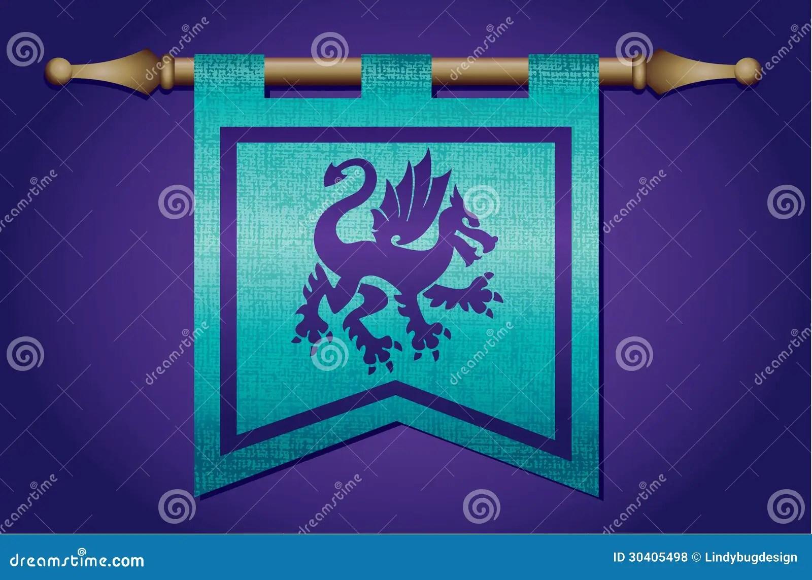 Middeleeuwse Vlag Met Draakembleem Vector Illustratie