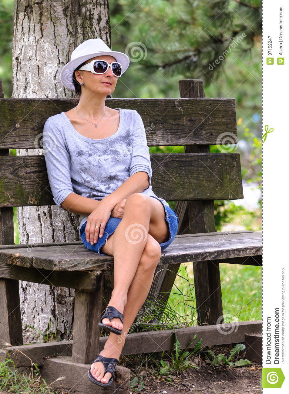 Blind Woman Resting In Park Stock Image Image 37152247