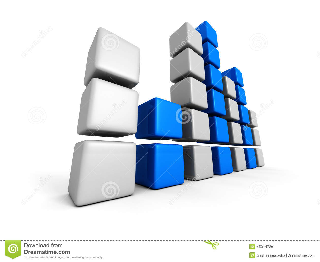hight resolution of block bar chart diagram on white background