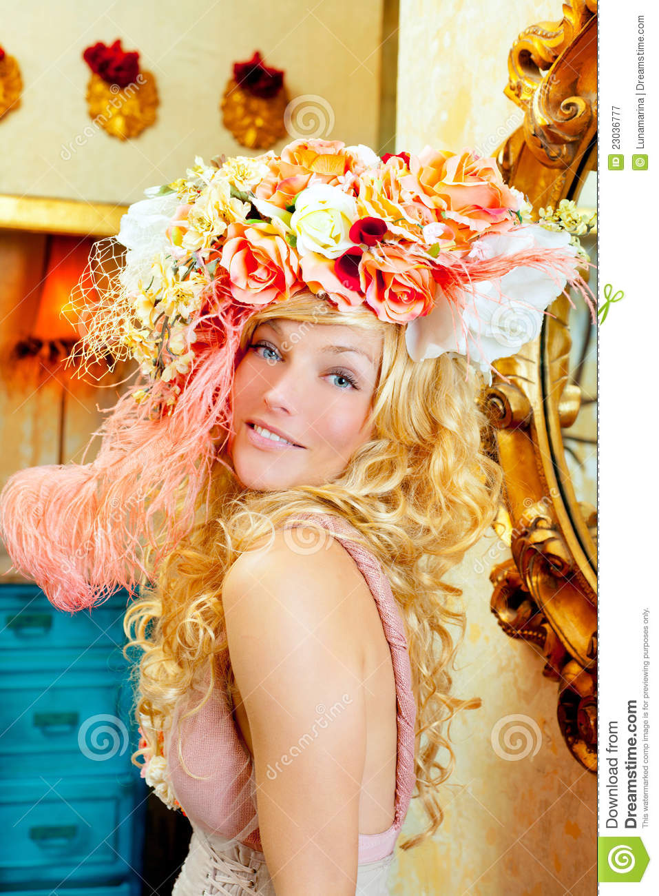 Blond Fashion Woman With Spring Flowers Hat Royalty Free Stock Photography  Image 23036777