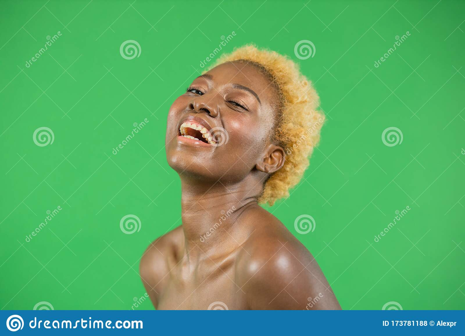 Blonde Beautiful Young Black African American Woman With Natural