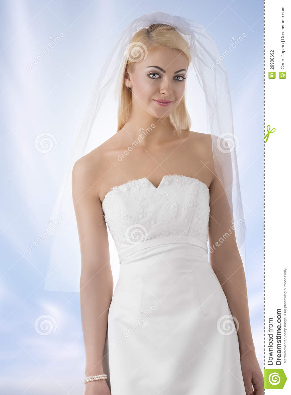 Blonde Bride With Veil In Front Of The Camera Stock