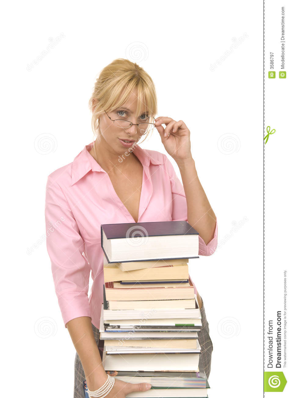 Blonde Librarian stock image Image of stack overworked  3586797