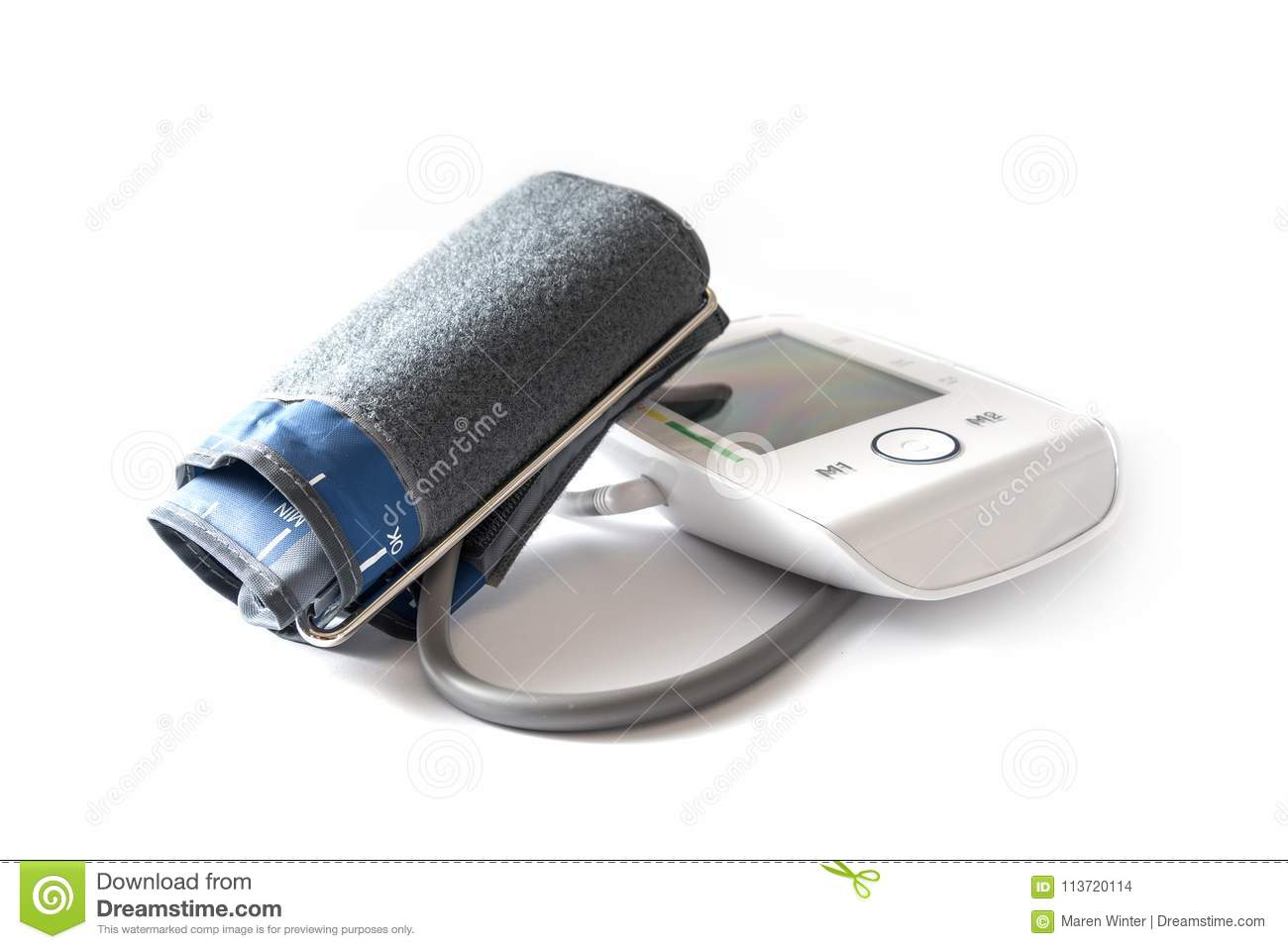 Blood Pressure Gauge With Cuff And Blank Digital Monitor