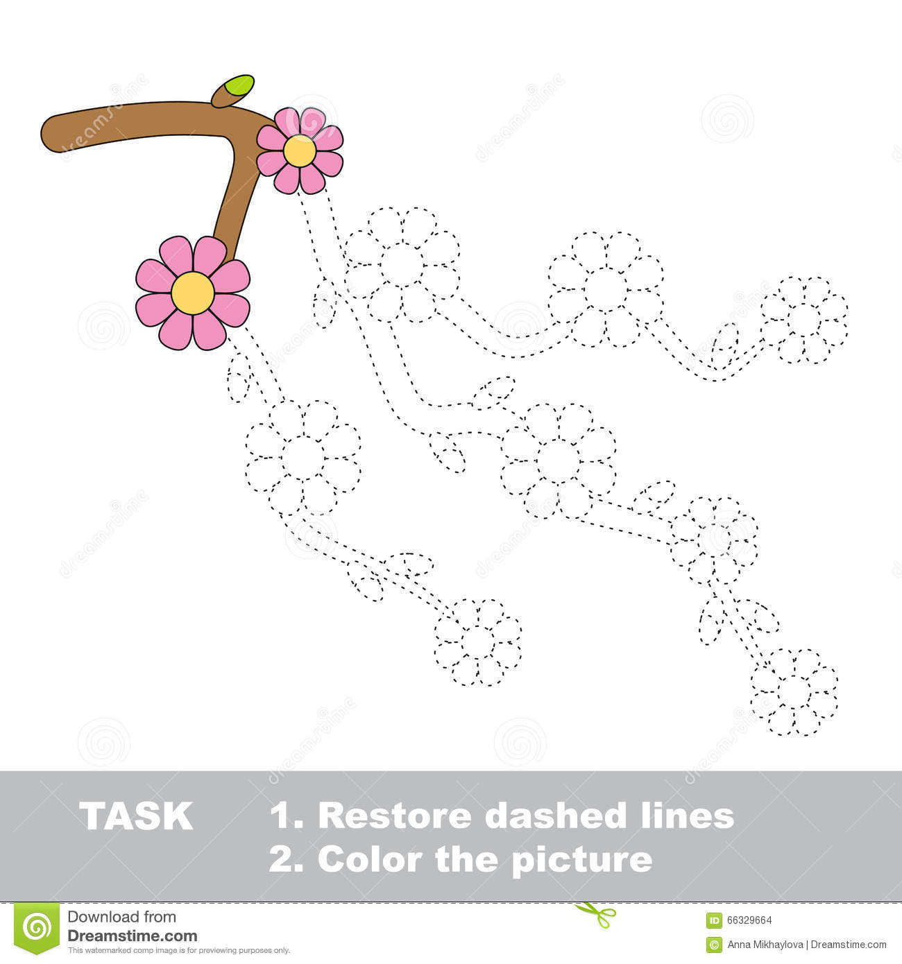 Blossom Cherry Branch To Be Colored Vector Trace Game