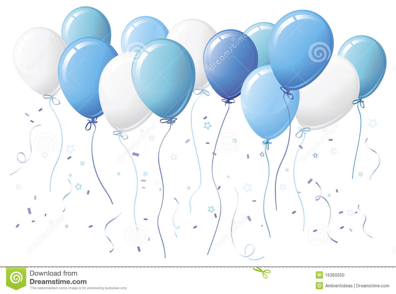 hight resolution of blue balloons with confetti
