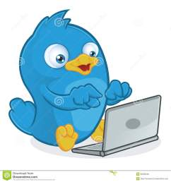 clipart picture of a blue bird cartoon character with laptop [ 1300 x 1390 Pixel ]