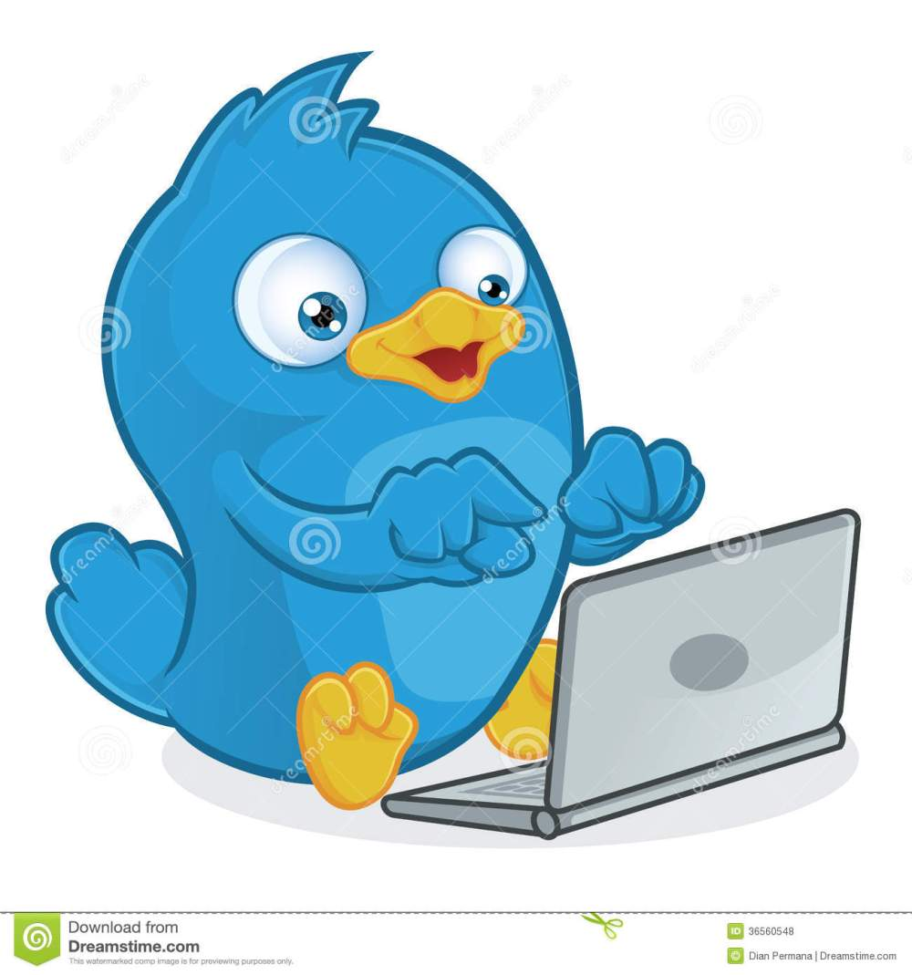 medium resolution of clipart picture of a blue bird cartoon character with laptop