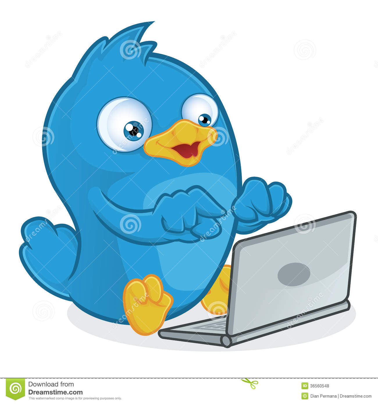 hight resolution of clipart picture of a blue bird cartoon character with laptop