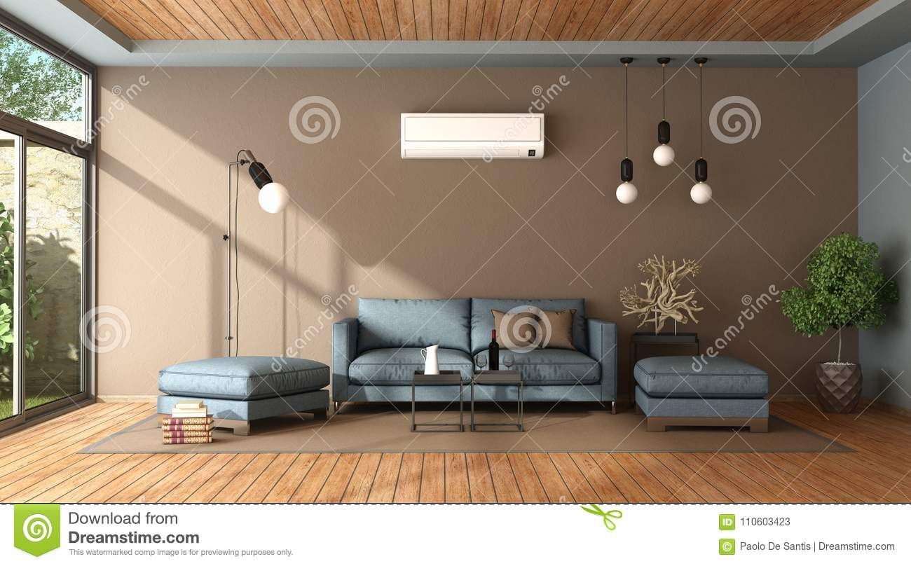 living room footstool best chair blue and brown with air conditioner stock illustration sofa 3d rendering