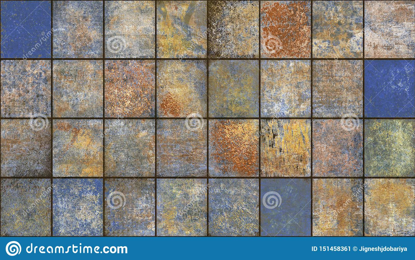 https www dreamstime com blue brown vintage mosaic decorative tile home decor multi colored design interior natural structure abstract marble image151458361