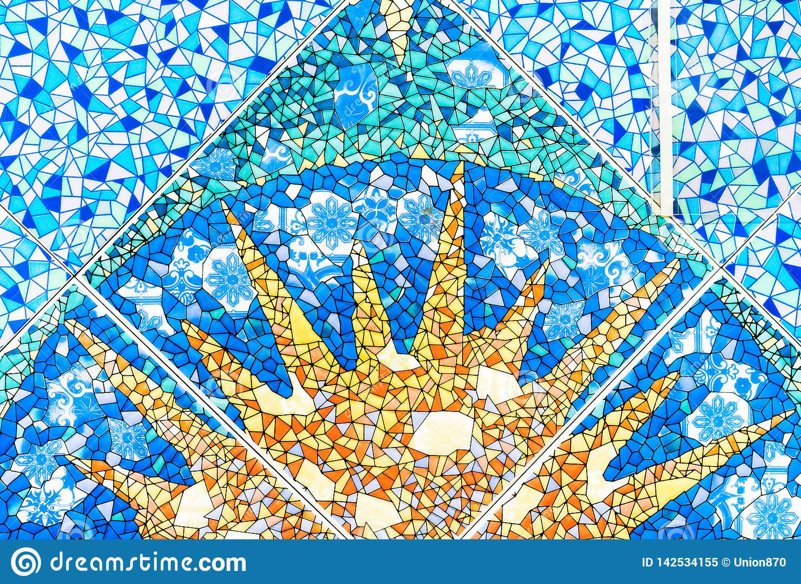 https www dreamstime com blue ceramic mosaic tile image sun background texture tiles image142534155